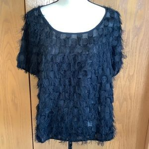 Numph Black Charlaine Fringed Top Sz-M/38